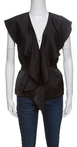 Stella McCartney Satin Ruffle Detail Sleeveless Polyester Top Black