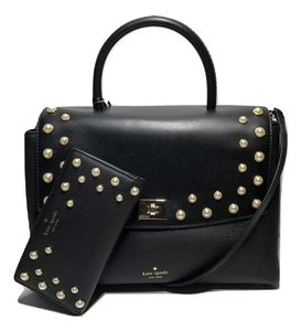 Kate Spade Pearl Studded Matching Set Shoulder Satchel in Black