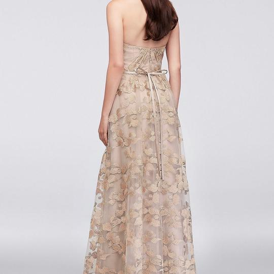 David's Bridal Dusty Rose Oleg Cassini Embroidered Strapless Formal Bridesmaid/Mob Dress Size 6 (S)