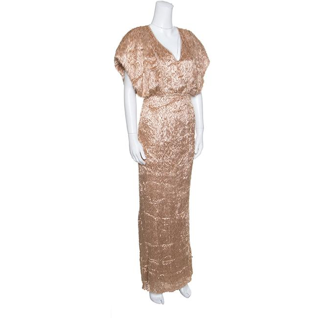 Brown Maxi Dress by Fendi Feather Silk Viscose