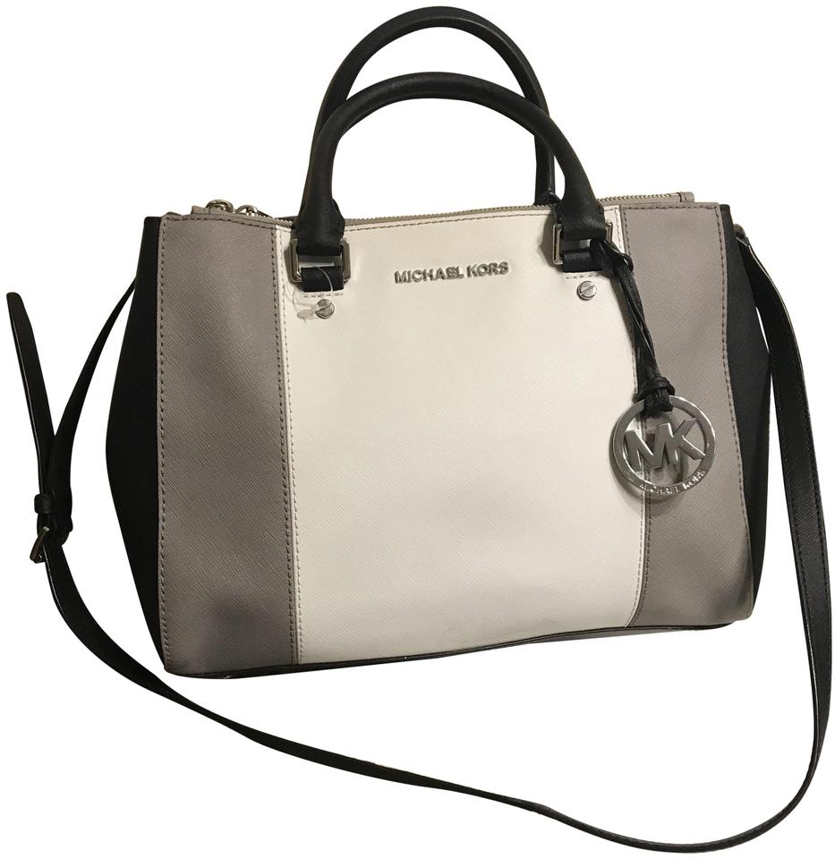 f9a72325bade Michael Kors Dressy Tote Zip Shoulder Cross Body Satchel in White Pearl  Grey Black Image 0 ...