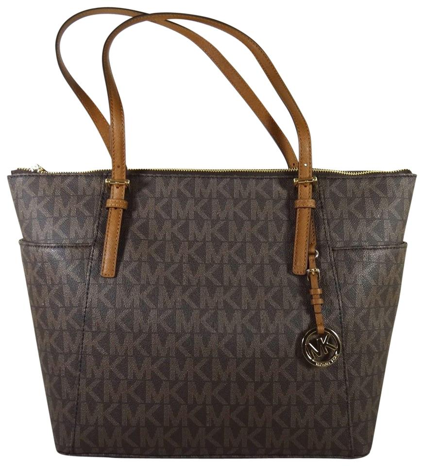 4c2dce4be5dce ... real michael kors canvas brown acorn 191935011152 tote in brown acorn  7ae5c 31406