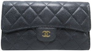 Chanel Chanel Black Quilted Trifold Wallet
