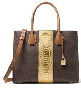 Michael Kors Brown Gold Signature Mercer Tote In Mk