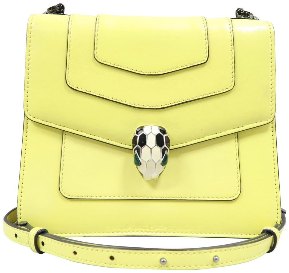 d4708e7c6db8 BVLGARI Serpenti Forever Flap Cover Satch Yellow Calfskin Satchel ...