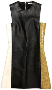 Edun Croc Leather Lambskin Motorcycle Dress