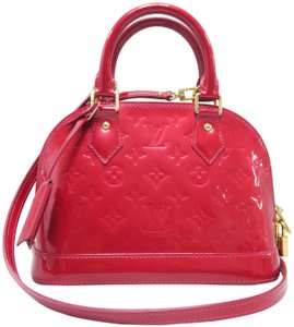 Louis Vuitton Vernis Alma Bb Satchel in Red