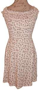 Forever 21 short dress Cream, Red, Green Roses Floral Stretch on Tradesy