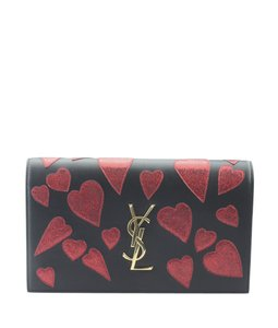 Saint Laurent Leather Italy Xfabric New Without Tags BlackxRed Clutch