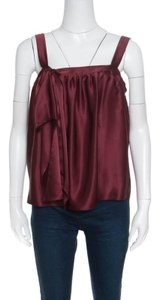 Saint Laurent Silk Satin Top Burgundy