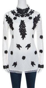 ALICE by Temperley White Dotted Tulle Contrast Floral Lace Applique Ev