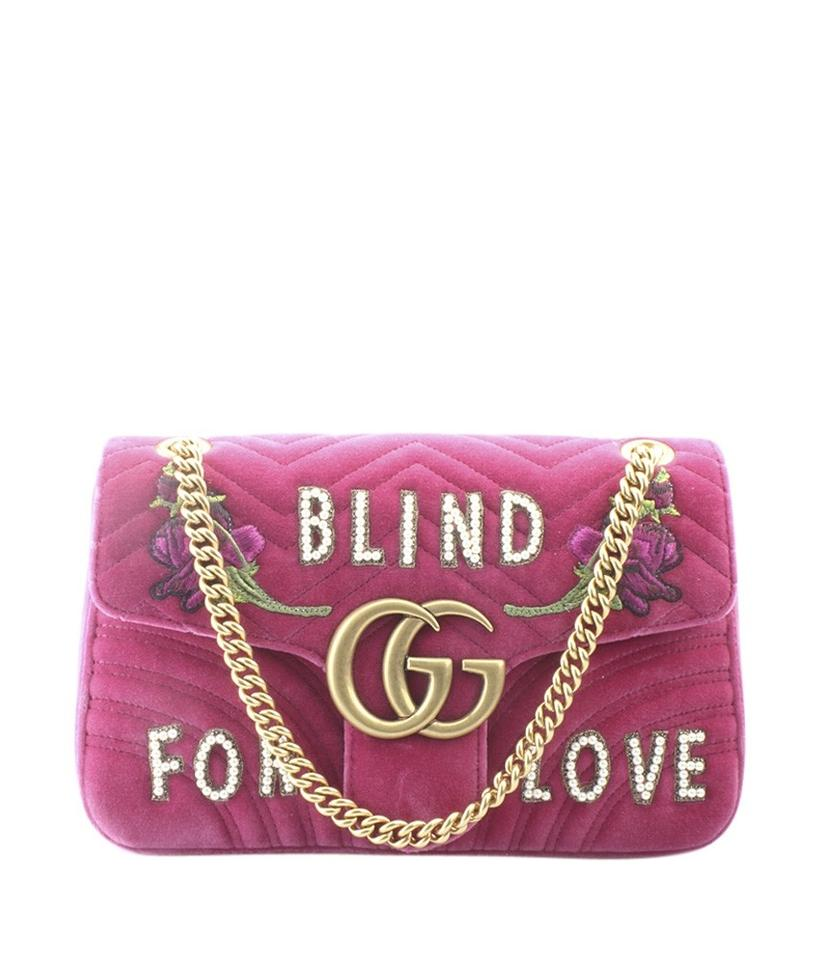 d12e8199d62b Gucci Marmont 443496 Blind For Love (161358) Pink Velvet Shoulder ...