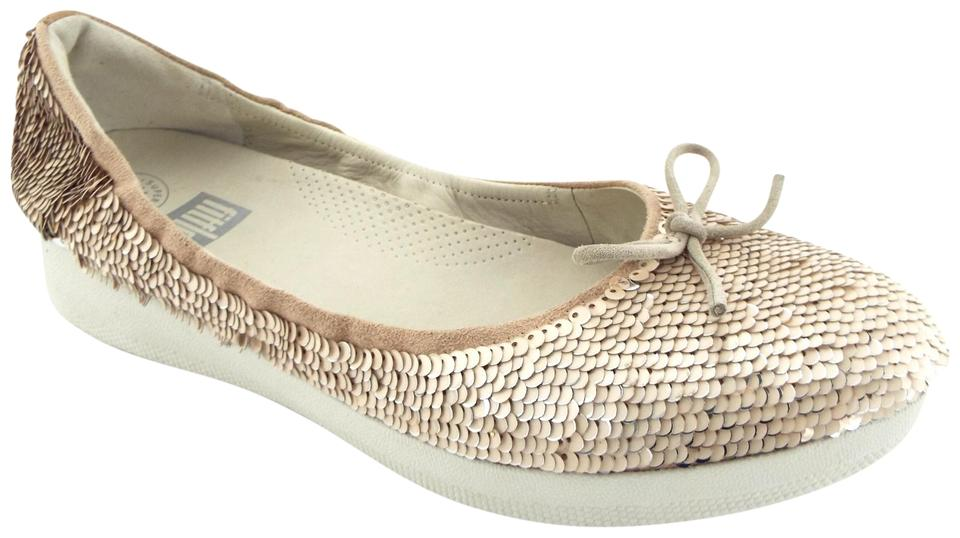 c214a94a1dc FitFlop Cream Blush Sequin Bow Ballet Flats Size US 9 Regular (M