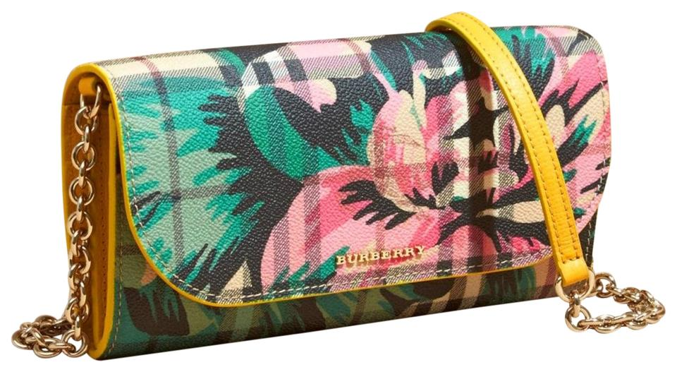 080c25413a8 Burberry Wallet on Chain Haymarket Floral Print Henley Yellow/Green ...
