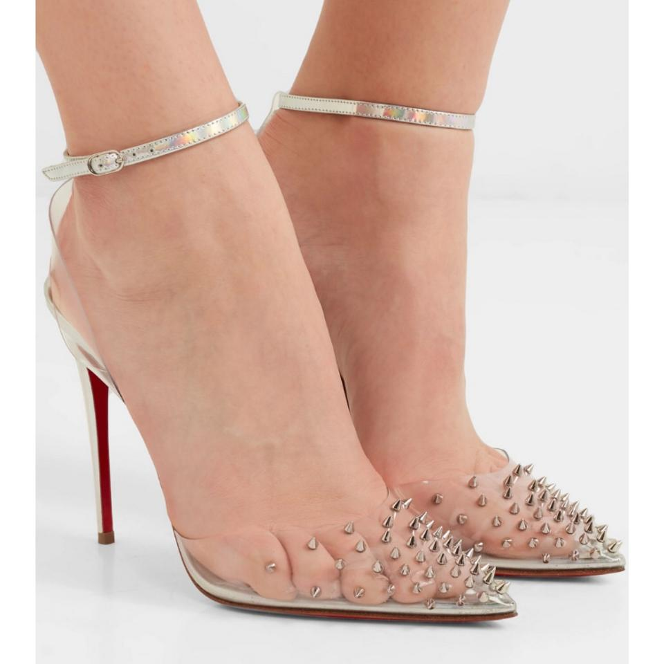 d472b39ce38b Christian Louboutin Spikoo 100 Spiked Pvc Hologram Iridescent Leather Heels  Sandals Size US 8 Regular (M
