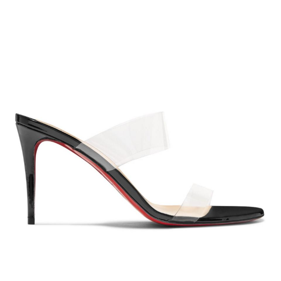 2f27c1399ee5 Christian Louboutin Just Nothing 85 Clear Pvc and Patent Leather Heels  Sandals