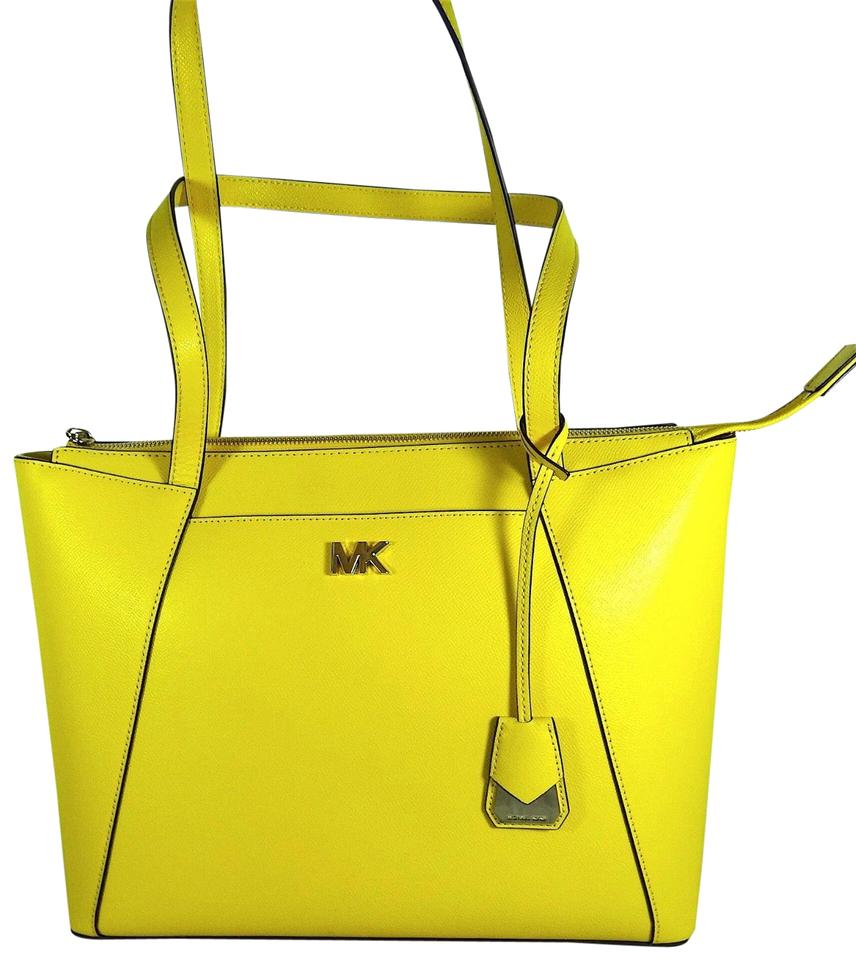 e2839dc9b945 Michael Kors Maddie Medium East West Top Zip Sunflower Leather Tote ...