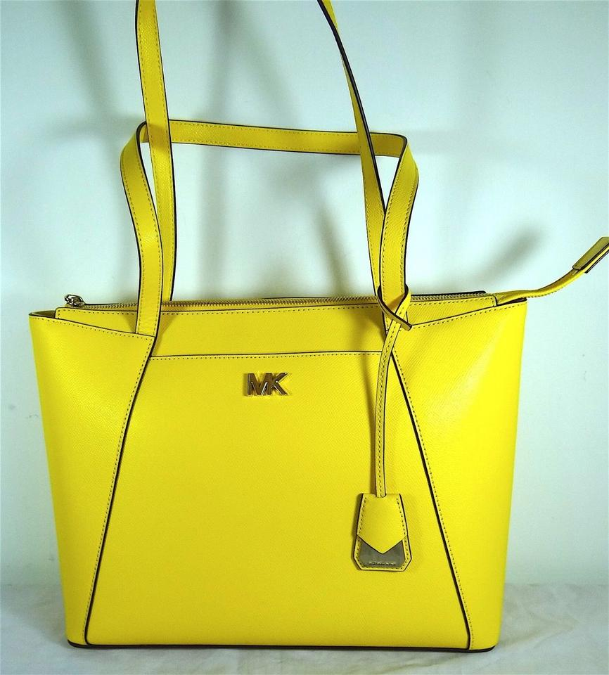f9fbe2e6155202 Michael Kors Maddie Medium East West Top Zip Sunflower Leather Tote ...