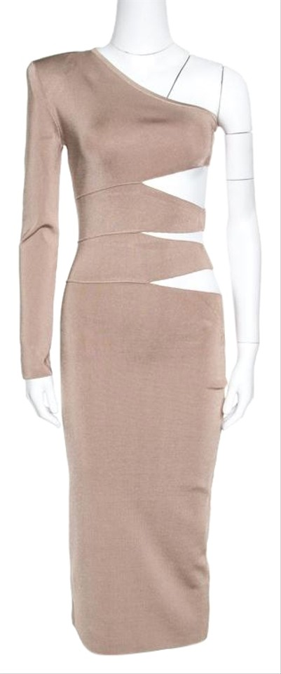 66ba4529968 Balmain Beige Knit One Shoulder Cutout Fitted Mid-length Formal ...