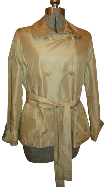 Item - Khaki Double Breasted Trench Jacket Size Petite 14 (L)