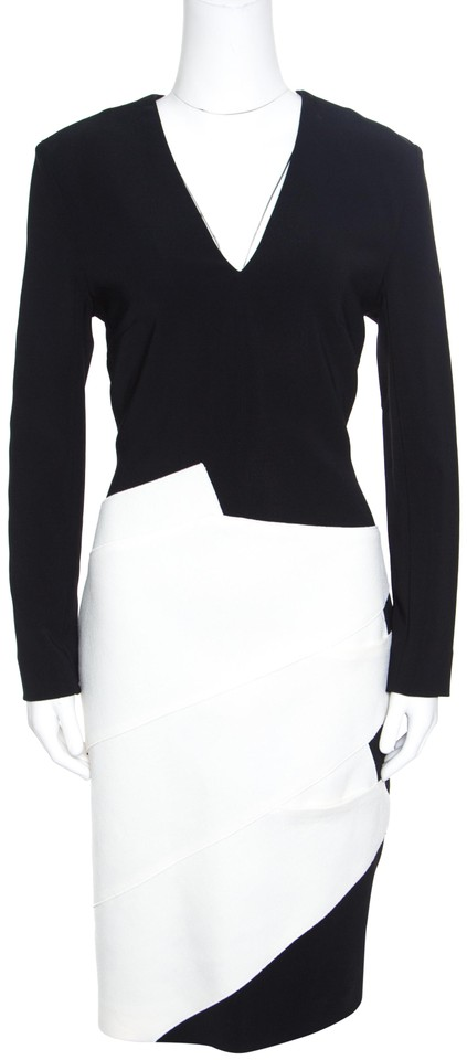 21972924155 Roland Mouret Black Monochrome Wool Colorblock V Neck Shift Formal Dress