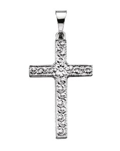 Apples of Gold SMALL WOMEN'S FLOWER ETCHED CROSS PENDANT IN 14K WHITE GOLD