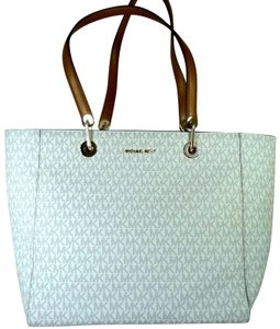 Michael Kors Leather/Canvas 190864490878 Tote in Vanilla