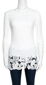 Ermanno Scervino Floral Lace Trim Detail Longsleeve Top White