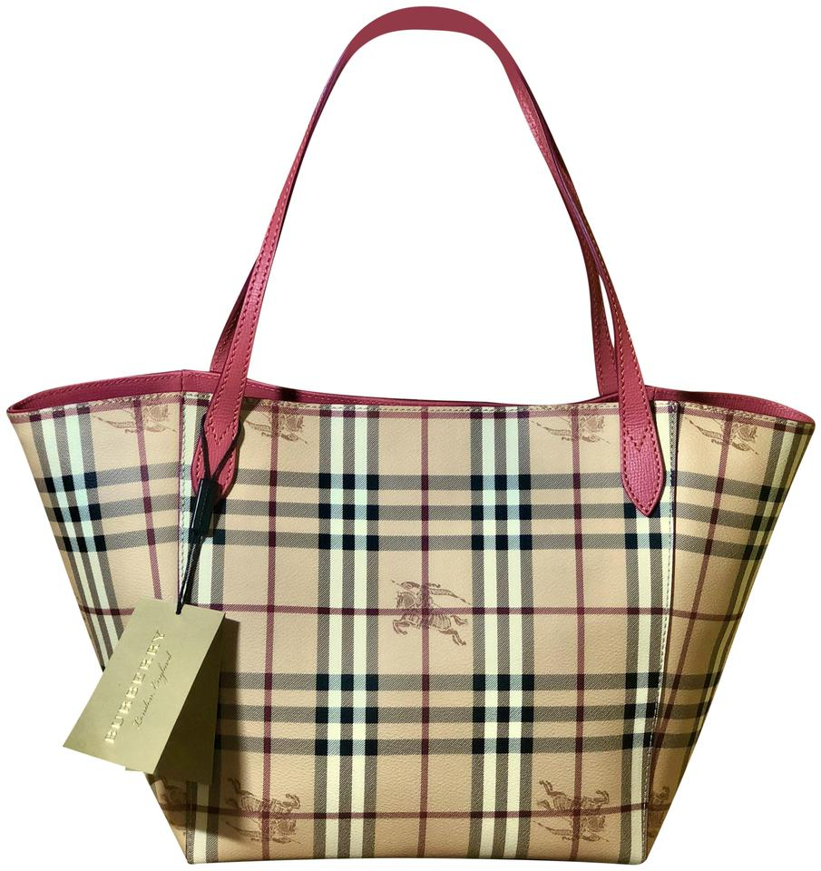 Burberry Haymarket Check Colours Small Canterbury Plum Pink Coated ... a93dec8b4fc75
