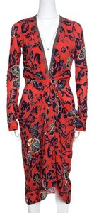 Red Maxi Dress by Etro Floral Print Embellished Plunge Detail