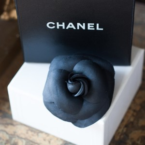 Chanel Chanel Black Silk Camellia Pin with Original Box