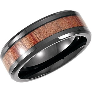 Apples of Gold Black Cobalt Ring with Rosewood Inlay For Men Men's Wedding Band