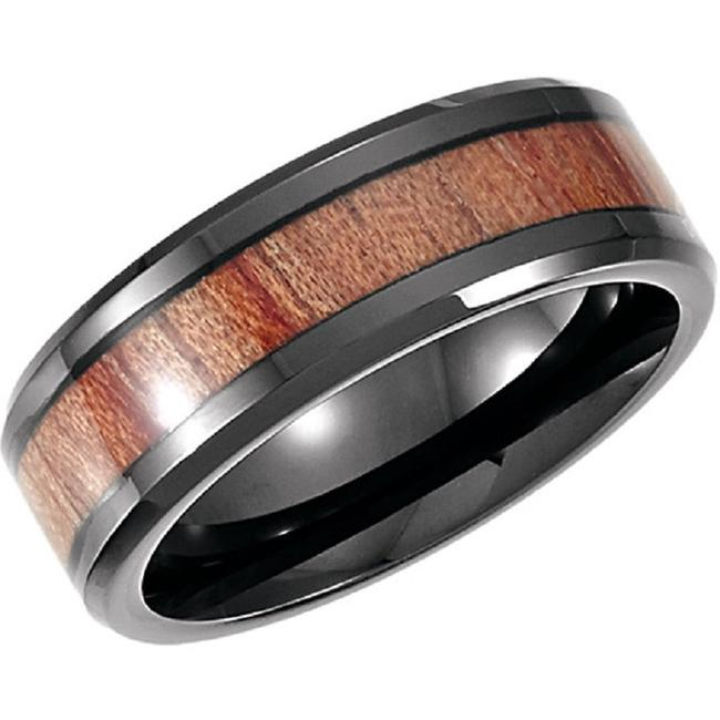 Item - Black Cobalt Ring with Rosewood Inlay For Men Men's Wedding Band