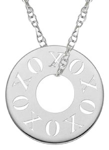 Apples of Gold CUT-OUT XOXO CIRCLE NECKLACE IN WHITE GOLD