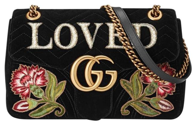 Gucci Marmont Shoulder Gg Embroiled Loved Black Chevron Velvet Cross Body Bag Gucci Marmont Shoulder Gg Embroiled Loved Black Chevron Velvet Cross Body Bag Image 1