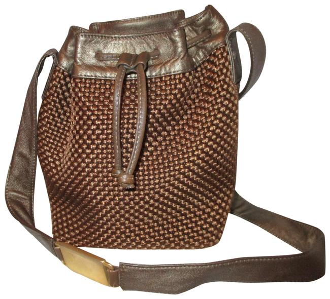 Item - Americana By Drawstring Antiqued Gold and Bronze Textile & Leather Shoulder Bag