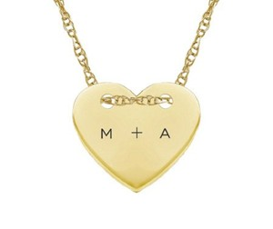 Apples of Gold CUSTOM SMALL INITIAL HEART NECKLACE, 14K YELLOW GOLD