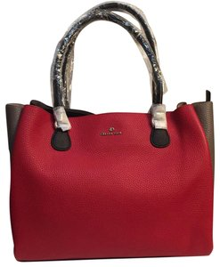Celine Dion Leather Tote in Red Combo (Black, Grey Colorblock