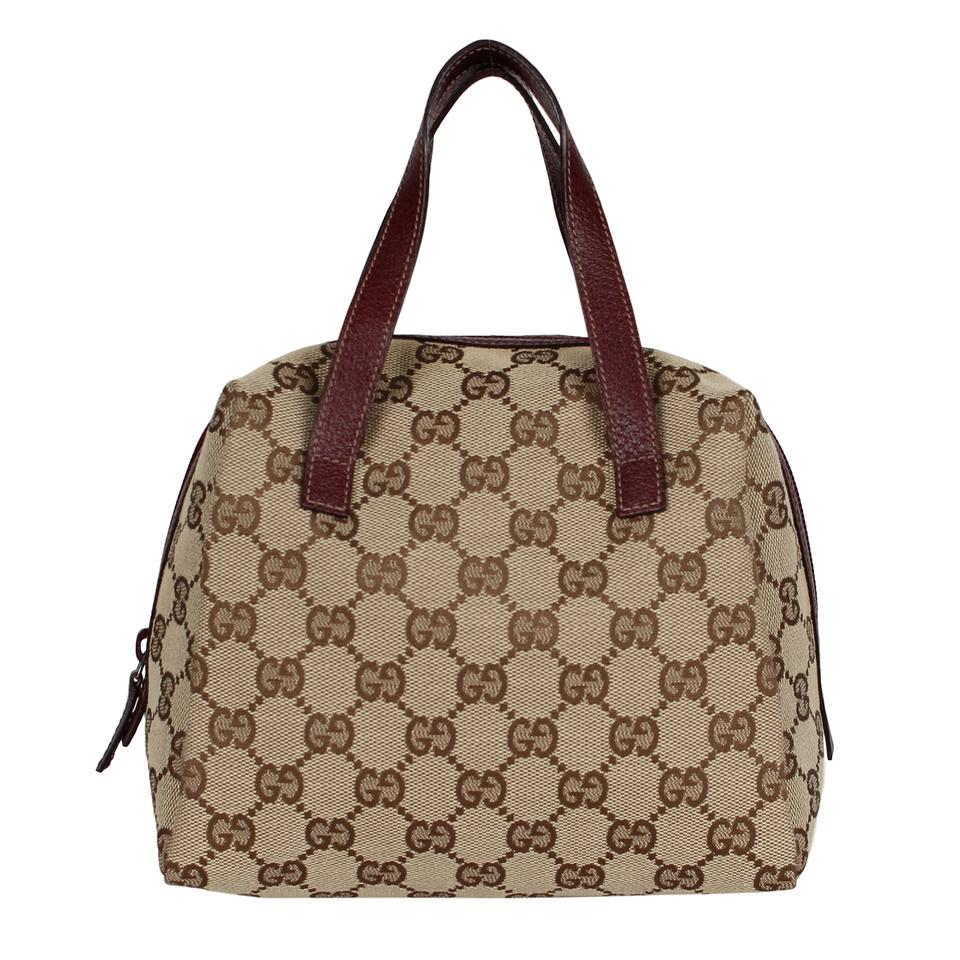 fedafd77b4fa Gucci Near New Small Handbag Tote 6837 Brown Canvas Satchel - Tradesy