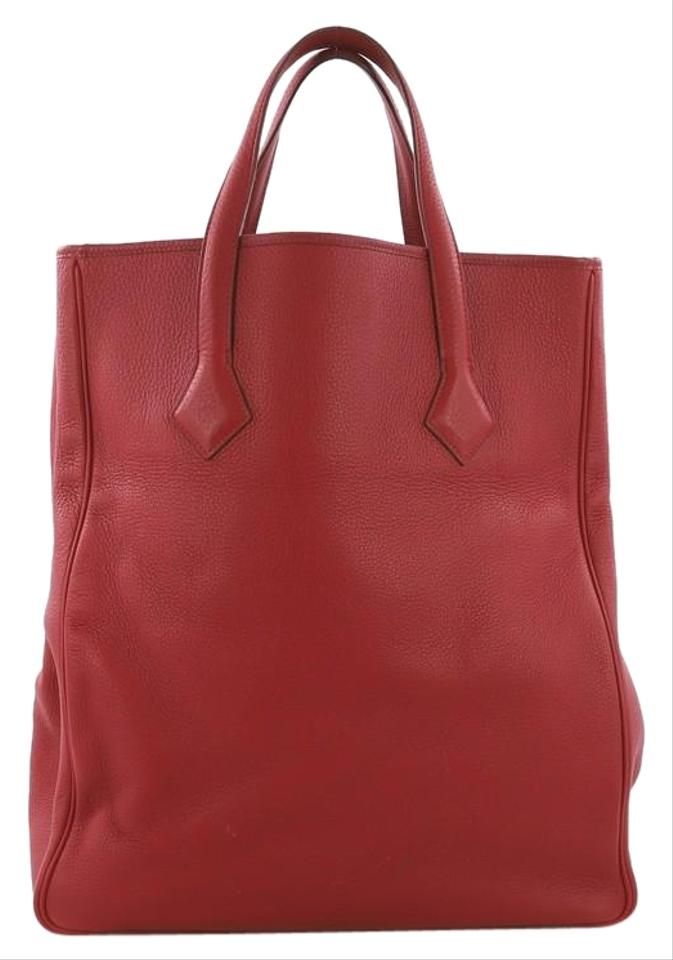 421a5a206281 Hermès Victoria Ii Cabas Clemence 35 Red Leather Tote - Tradesy