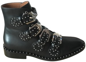 Givenchy Classic Studded Buckle Leather Moto Black Boots