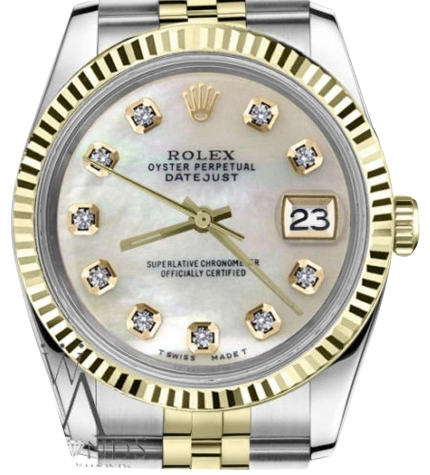 Rolex Women\u0027s 31mm Datejust2tone White Mop Mother Of Pearl Diamond Dial  Watch 47% off retail