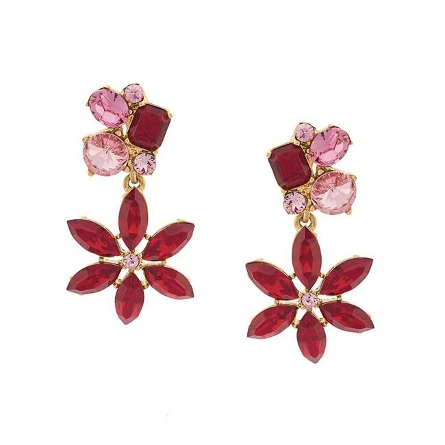 Item - Red Pink Gold Crystal Flower Clip On Earrings