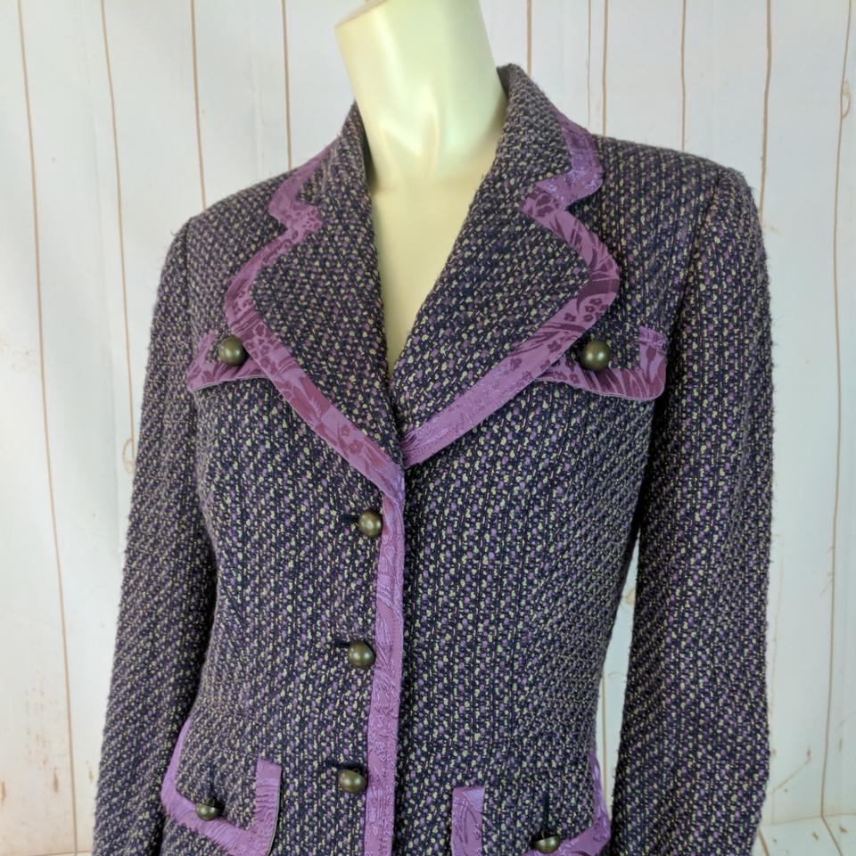86224ce9d4a73 Bisou Bisou Purple Tweed Blazer Acrylic Poly Wool Metallic Lined  Button-down Top