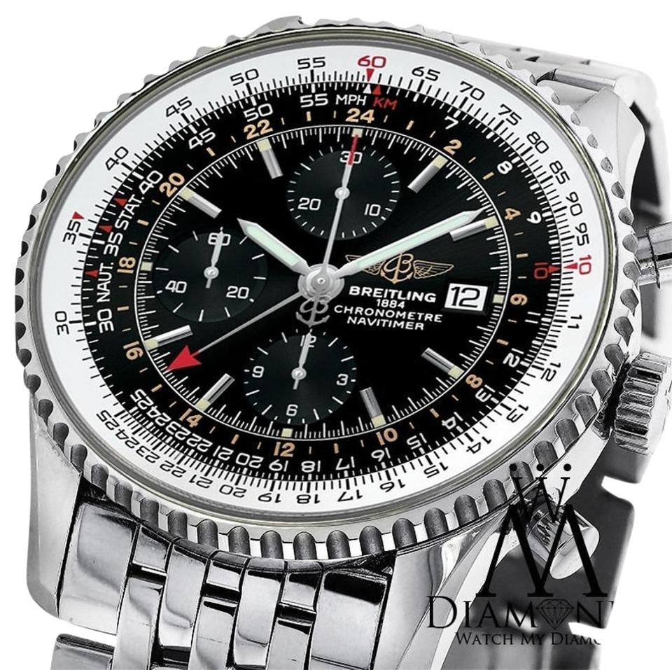 Breitling Navitimer World Gmt Black Face Chronograph A24322 46mm Watch 67 Off Retail