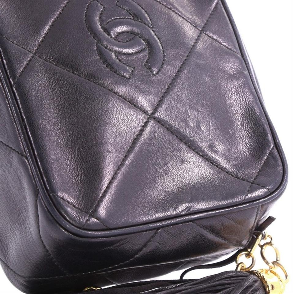 6fb2f611a90459 Chanel Camera Vintage Diamond Cc Quilted Small Black Leather Cross ...