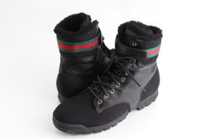 Gucci Black Men's Leather Strap High-top Boots Shoes