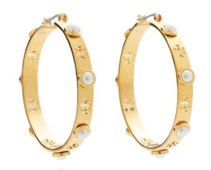 Tory Burch NEW TORY BURCH GOLD HOOP PEARL EARRINGS HOOPS DUST BAG NWT