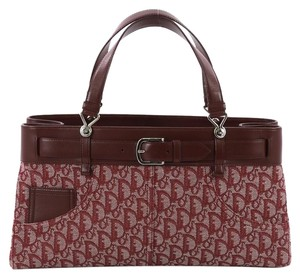 Dior Christian Canvas Tote in burgundy