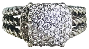 David Yurman David Yurman Sterling Silver Petite Wheaton Ring w/ Diamonds SZ 4 SALE